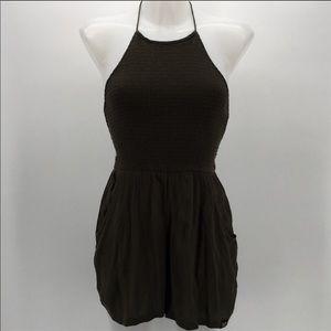 Super dry halter top shorts romper dark green xs